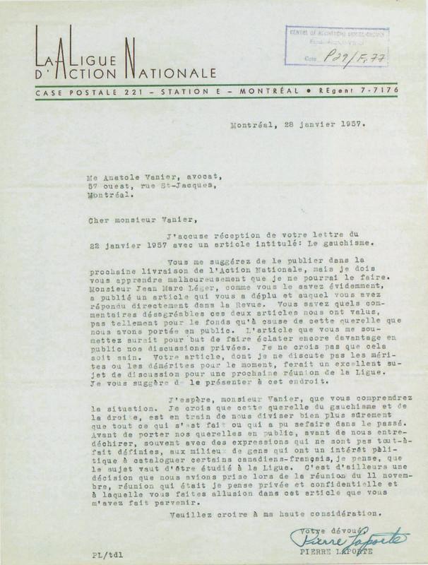 Lettre de Pierre Laporte, 1957. CRLG, Fonds Anatole-Vanier (P29/F,77),