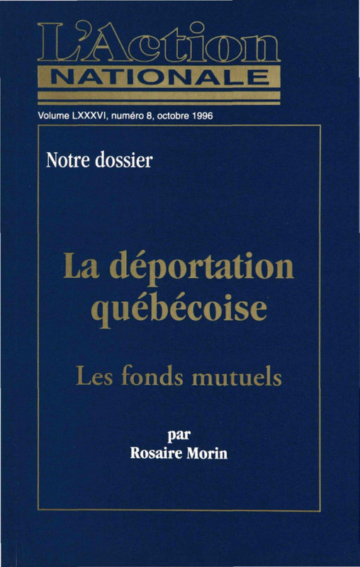 L'Action nationale : couverture du numéro 8, volume LXXXVI, octobre 1996.