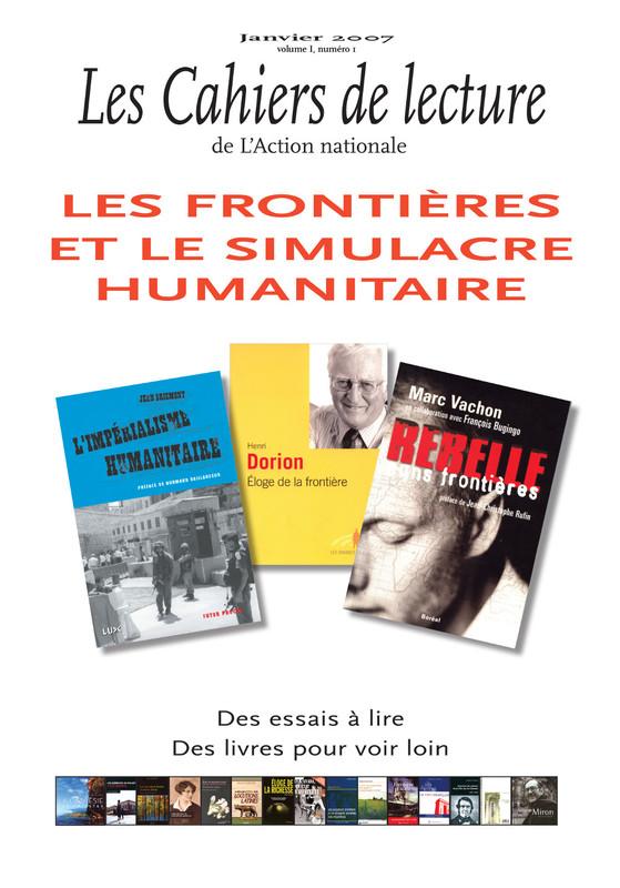 Les Cahiers de lecture de L'Action nationale : couverture du numéro 1, volume I, janvier 2007.