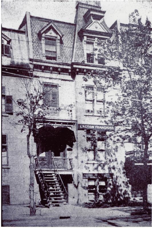 Photographie de l'édifice abritant la Ligue d'Action française au 1735, rue Saint-Denis (Montréal), 1925. CRLG, Fonds Lionel-Groulx (P1/T3, 1.1).