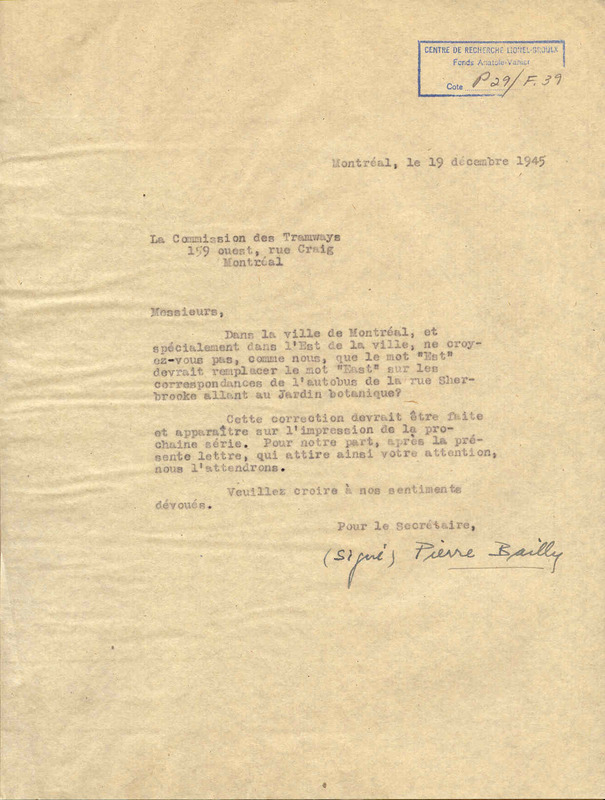 Lettre de Pierre Bailly, 19 décembre 1945. CRLG, Fonds Anatole-Vanier (P29/F,91).