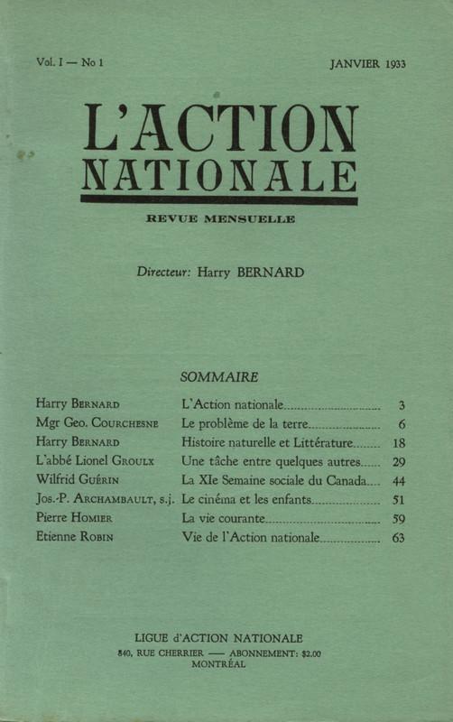 L'Action nationale : couverture du numéro 1, volume I, janvier 1933.