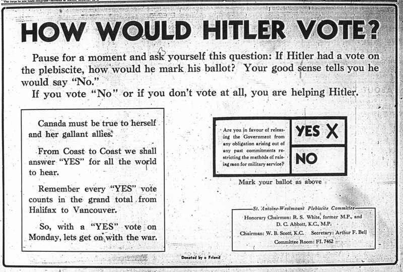 Publicité «How Would Hitler Vote?», The Gazette, 25 avril 1942, p. 6.