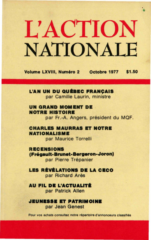 L'Action nationale : couverture du numéro 2, volume LXVIII, octobre 1977.