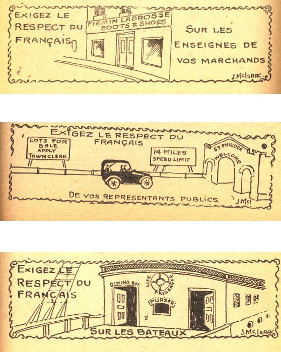 Vignettes «Exigez le respect du français», L'Almanach de la langue française, Montréal, Ligue des Droits du français, 1921, p. 71, 81 et 112). Collection LAN.