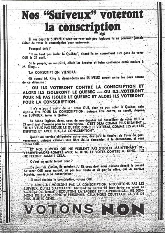 """Publicité «Nos """"Suiveux"""" voteront la conscription», Le Devoir, 21 avril 1942, p. 6."""