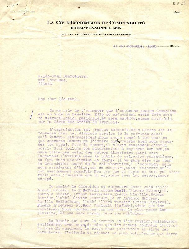 Lettre d'Harry Bernard, 30 octobre 1932, 2 p. CRLG, Fonds Léo-Paul-Desrosiers (P11/C, 11),