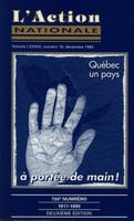 L'Action nationale : couverture du numéro 10, volume LXXXIV, 10 décembre 1994.