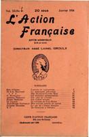 L'Action française : couverture du numéro 1, volume XI, janvier 1924.